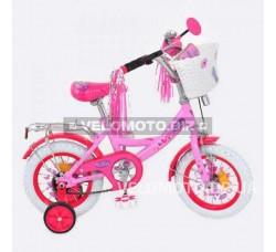 Велосипед детский Profi miss Butterfly 12 P1256 F-W розово-малиновая