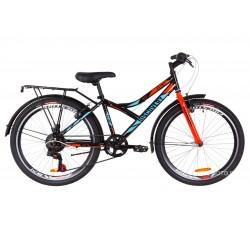 Велосипед Discovery Flint MC 24 2019 (с багажником) черно-синий с оранжевым