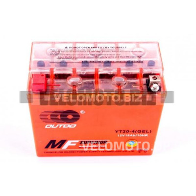 АКБ 12V 18А гелевый (177x87.7x154, оранжевый, mod:YT 20-4) OUTDO