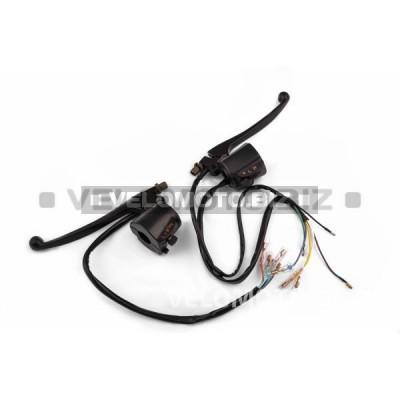 Блоки кнопок руля (пара)   Suzuki AX100   (черные, рычаги, крепление)